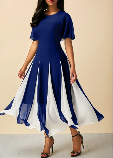Butterfly Sleeve Round Neck Navy Dress