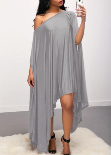 Asymmetric Hem Skew Neck Grey Dress