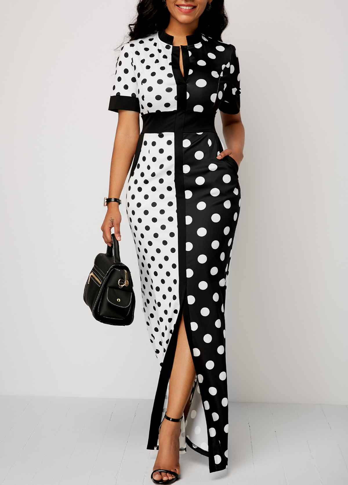 Polka Dot Print Front Slit High Waist Dress