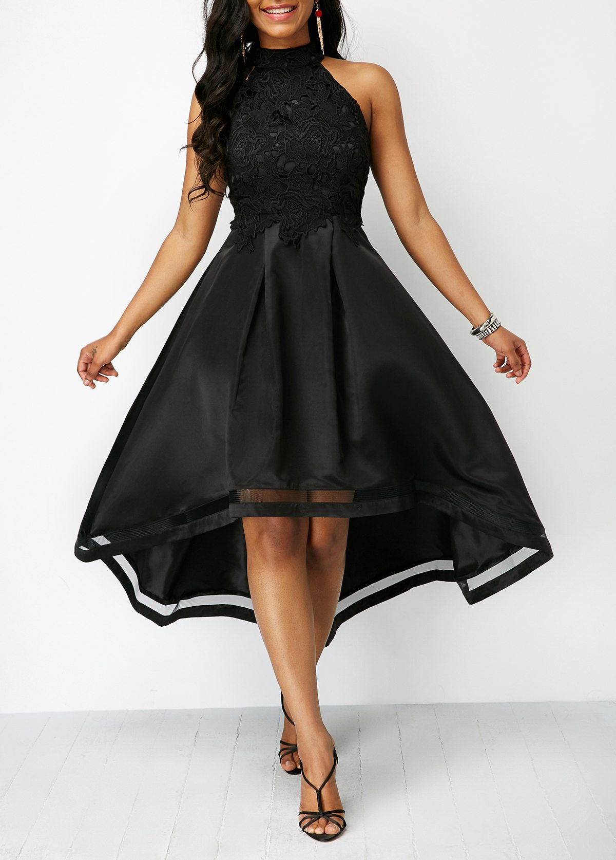 Lace Panel Sleeveless Black High Low Dress