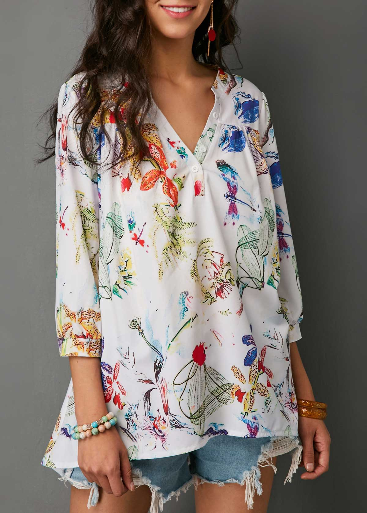 Three Quarter Sleeve Button Neck Printed Blouse