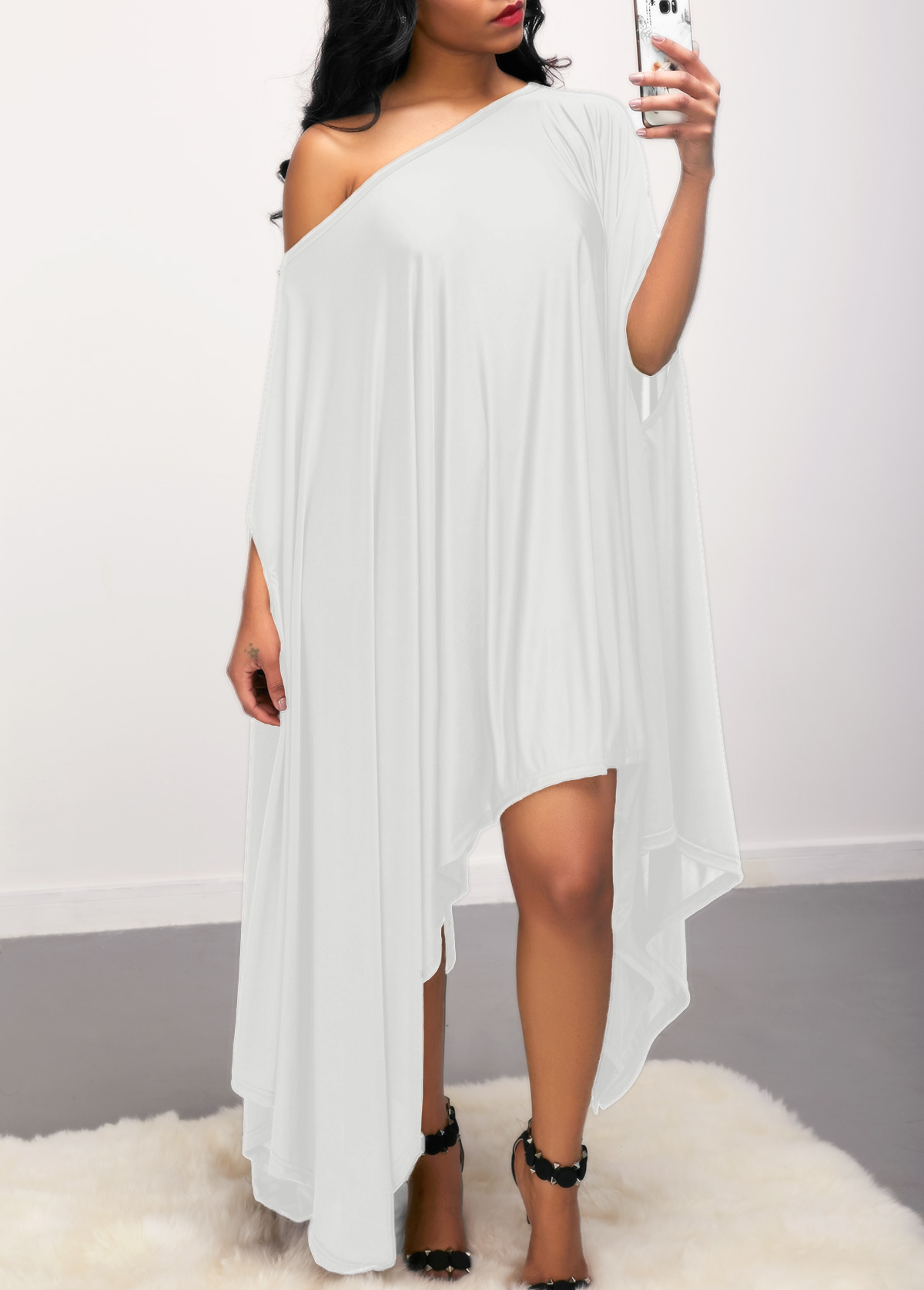 White Skew Neck Batwing Sleeve Asymmetric Hem Dress