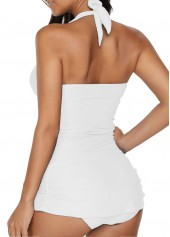 wholesale Ruched V Neck Halter White Tankini Set