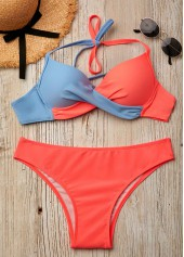 Twist Front Halter Color Block Bikini Set
