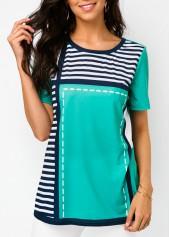 Stripe Print Cyan Round Neck T Shirt