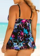 wholesale Plus Size Printed Front Slit One Piece Swimwear