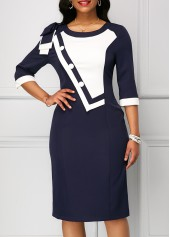 Navy Bowknot Shoulder Zipper Back Sheath Dress