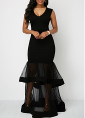 Black Mesh Panel Cutout Back Layered Mermaid Dress