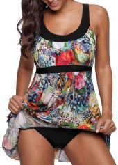 Layered Scoop Back Printed One Piece Swimdress