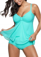 wholesale Ruched Spaghetti Strap Cyan Tankini Top and Panty