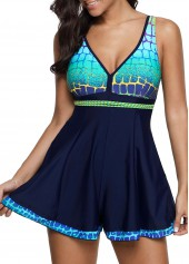 Printed Scoop Back V Neck One Piece Swimdress