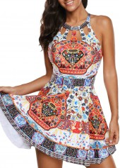 Printed Cutout Front H Back Swimdress and Shorts