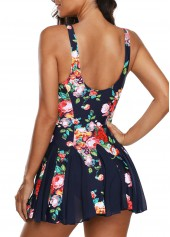 wholesale Navy Blue Scoop Back Printed Swimdress and Panty