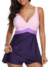 Twist Front Tie Back Patchwork Swimdress and Shorts