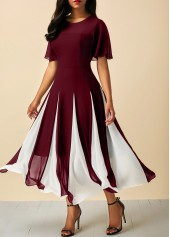 Wine Red Round Neck Short Sleeve Chiffon Dress