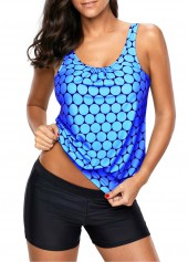 Scoop Neck Printed Blue Tankini Top and Shorts