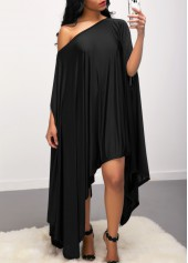 Batwing Sleeve Asymmetric Hem Skew Neck Black Dress
