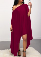 Skew Neck Asymmetric Hem Purple Red Dress