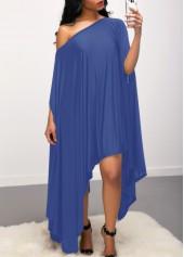 Skew Neck Batwing Sleeve Asymmetric Hem Blue Dress