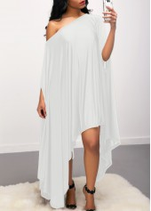 White Skew Neck Batwing Sleeve Asymmetric Hem Dress
