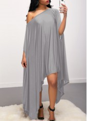Asymmetric Hem Skew Neck Grey Dress