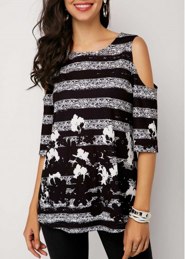 Printed Cold Shoulder Half Sleeve T Shirt