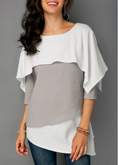 Overlay Round Neck Three Quarter Sleeve Blouse