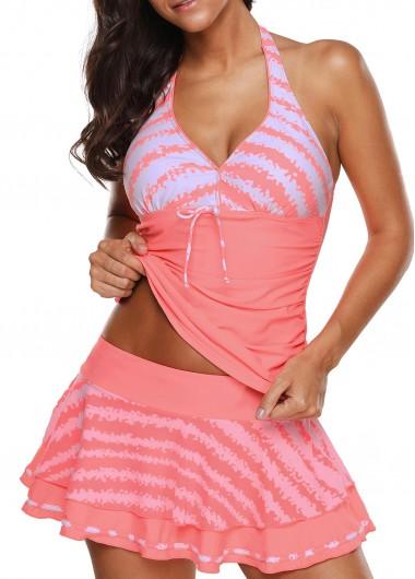 Halter Neck Pink Swimwear Top and Pantskirt