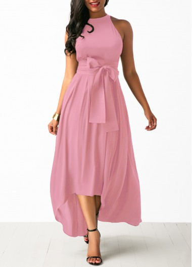 Women Pink Dress And Cardigancocktail Party Sleeveless Belted High Low High Waisted Maxi Dress  By Rosewe - L