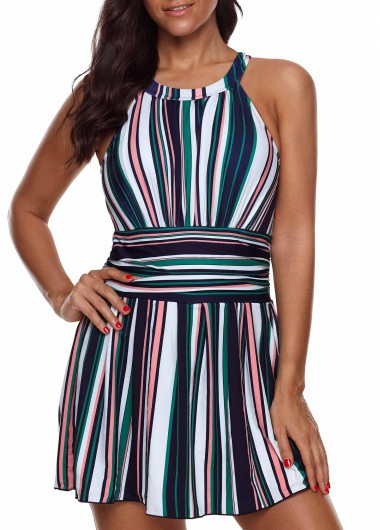 Women'S Multi Color Plus Size Striped Swimdress Bathing Suit Cutout Back Two Piece Padded Wire Free Swimsuit By Rosewe - 0X