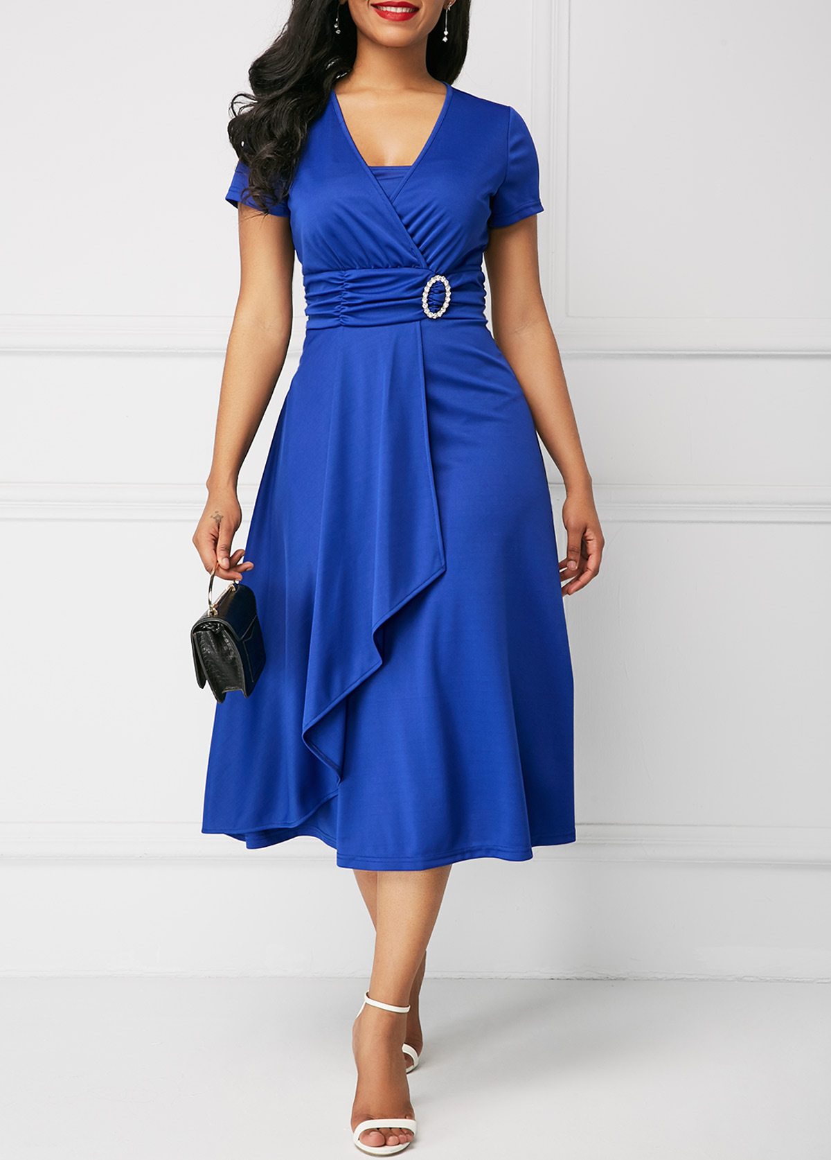 Asymmetric Hem V Neck Royal Blue Dress