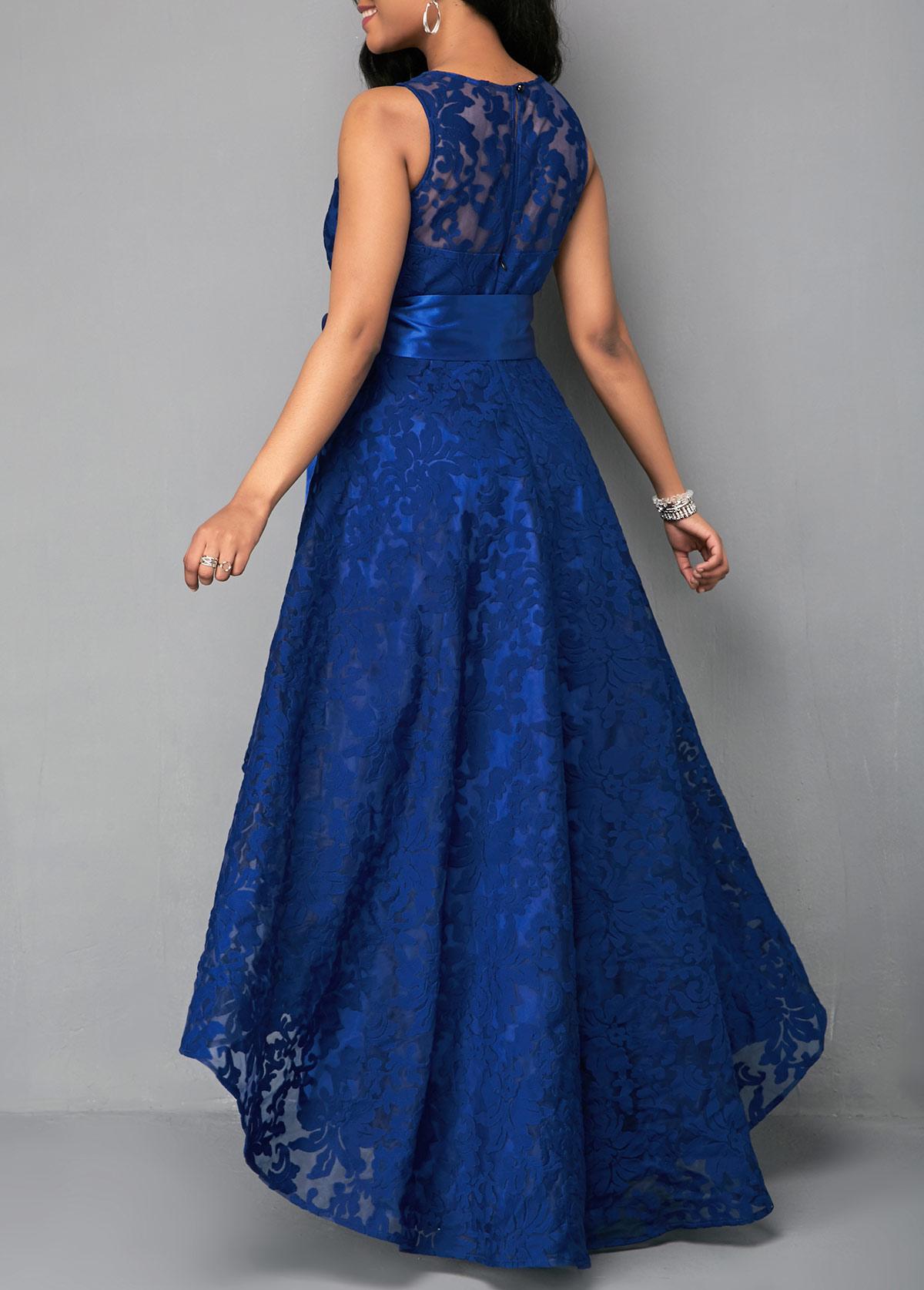 Belted High Waist Lace Panel Maxi Dress