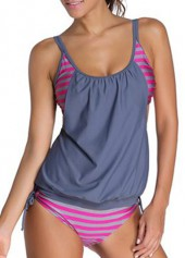 Grey and Rose Open Back Printed Tankini Swimwear