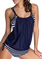 wholesale Stripe Print Navy Blue Top and Panty Swimwear
