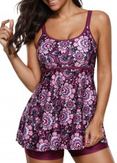 Open Back Printed Tankini Top and Shorts