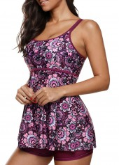 wholesale Open Back Printed Tankini Top and Shorts