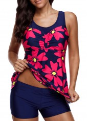 Flower Print Round Neck Tankini Set