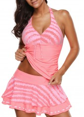 Halter Neck Pink Swimwear Top and Pantskirt