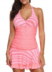 wholesale Halter Neck Pink Swimwear Top and Pantskirt