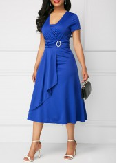 wholesale Asymmetric Hem V Neck Royal Blue Dress