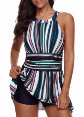 Striped Keyhole Back Swimdress and Shorts