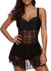 wholesale Wide Strap Lace Patchwork Swimdress and Panty