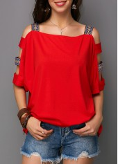 Square Collar Ladder Cutout Sleeve T Shirt