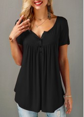 Black Button Detail Short Sleeve Blouse