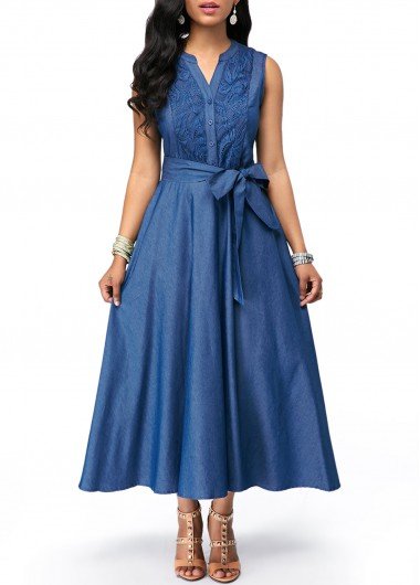 Tie Waist Split Neck Lace Panel Denim Dress