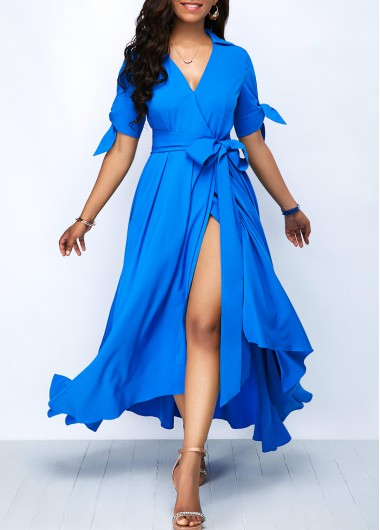 Front Slit Tie Sleeve Belted Maxi Dress