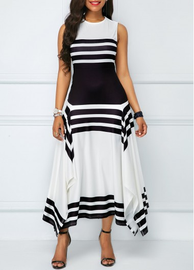 Asymmetric Hem Stripe Print Sleeveless Midi Dress