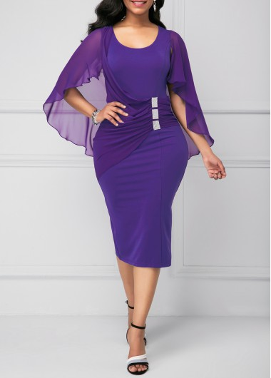 Purple Back Slit Cape Shoulder Sheath Dress