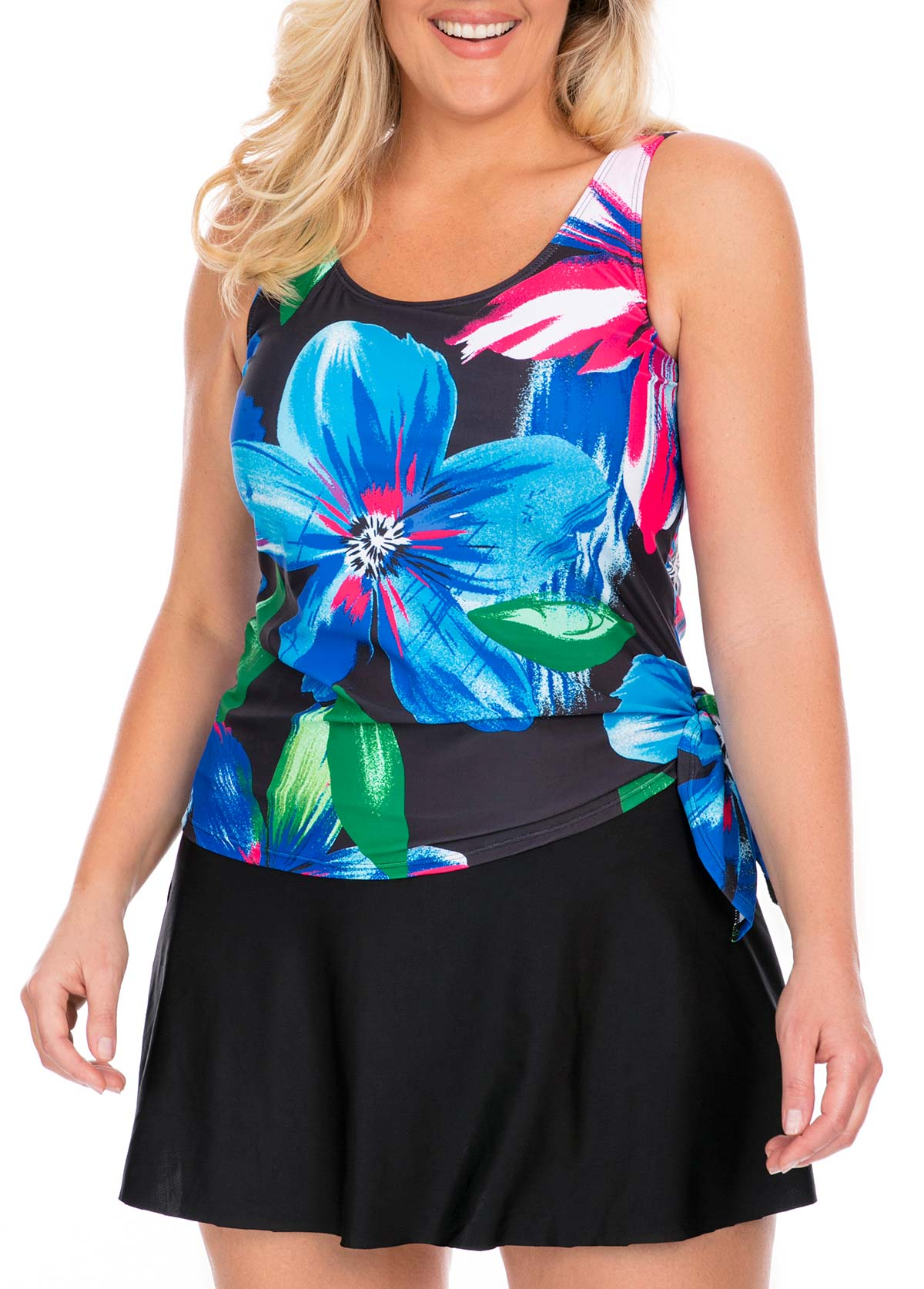 Plus Size Tie Side Tankini Top and Pantskirt