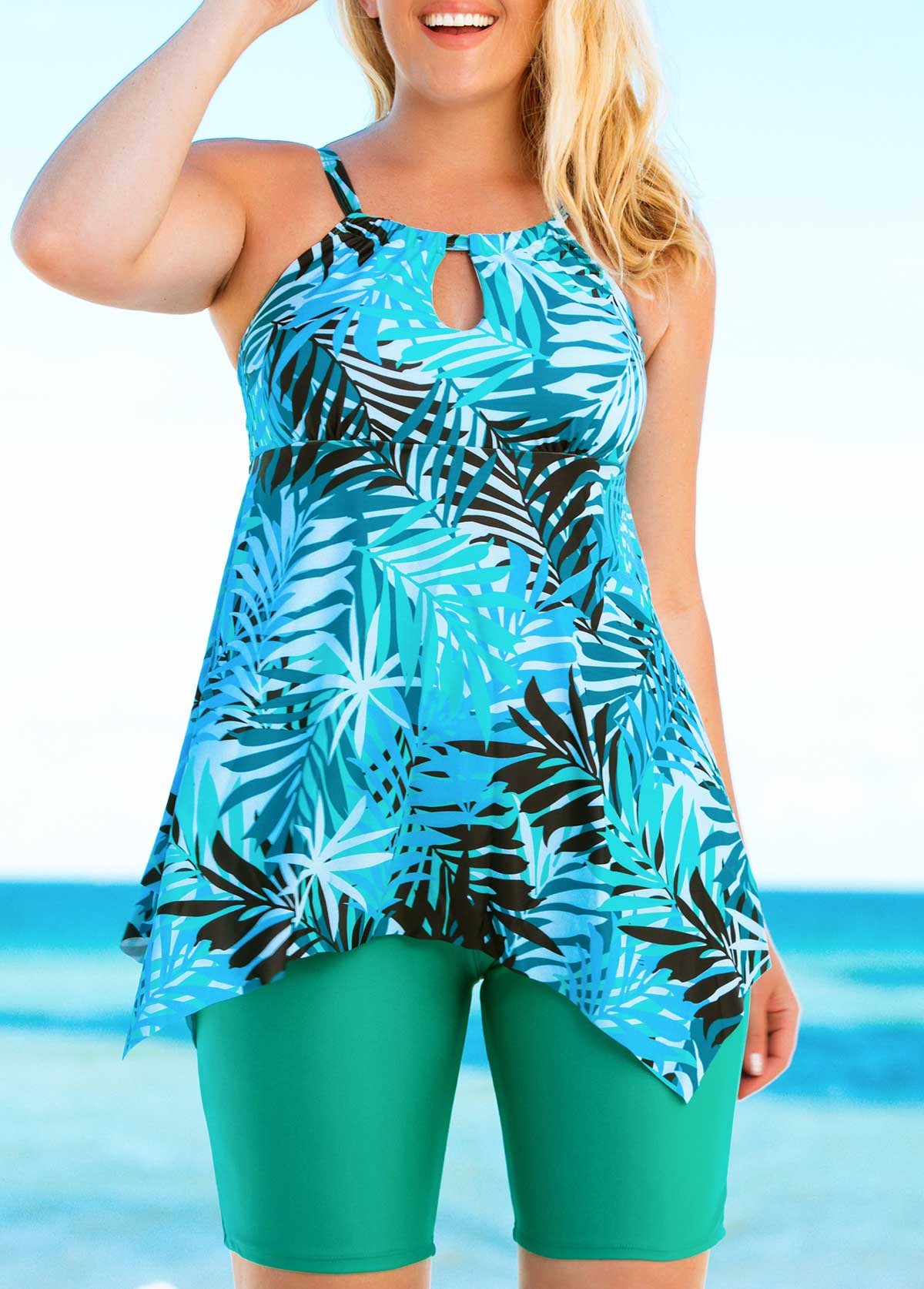 Plus Size Printed Tankini Top and Green Shorts